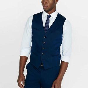 Express Cotton Sateen Marine Blue Vest Dress NWT